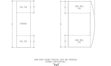 Ritorna Bow-Front Double Pedestal Desk and Credenza Configuration 1