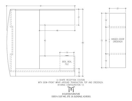 Ritorna U-Shape Reception Station Bow-Front Configuration 13