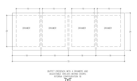 Ritorna Buffet Credenza 4 Drawers Configuration 18