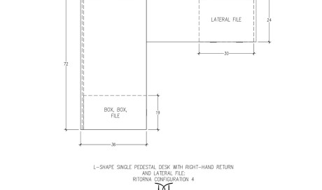 Ritorna L-Shape Single Pedestal Desk Right-Hand Return Configuration 4