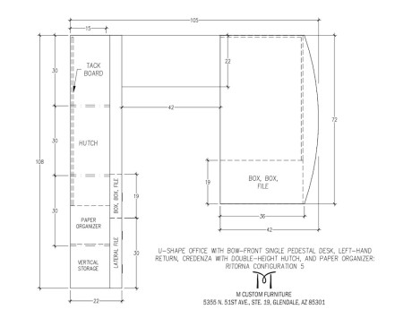 Ritorna U-Shape Office Bow-Front Single Pedestal Desk Configuration 5