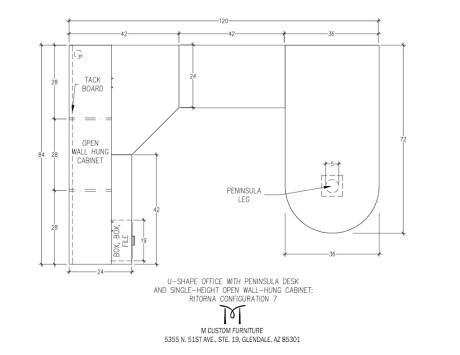Ritorna U-Shape Office Peninsula Desk Open Wall-Hung Cabinet Configuration 7