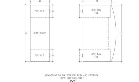 MOVE Double Pedestal Desk and Credenza Configuration 1